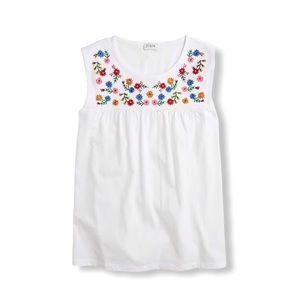 J. Crew Embroidered Yoke Cotton Tee Shirt M